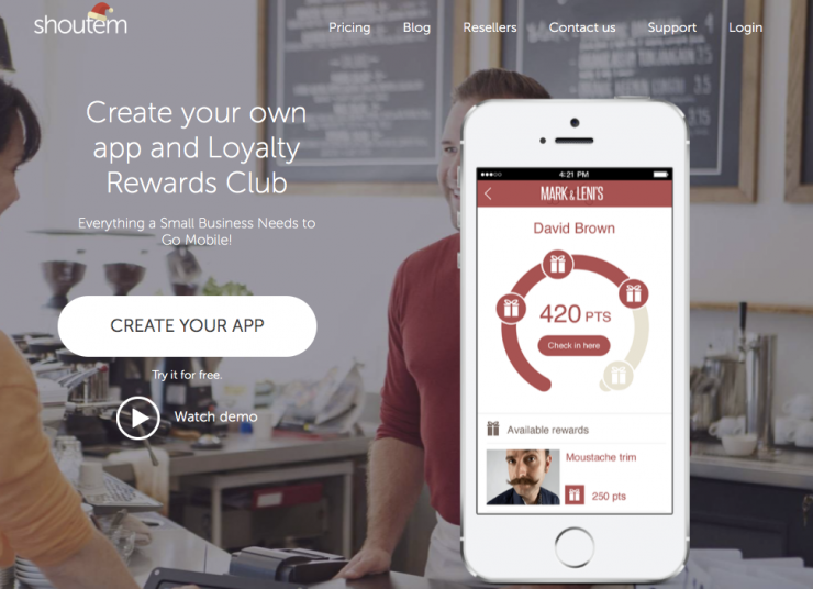 Shoutem allows you to build your own loyalty program for mobile devices