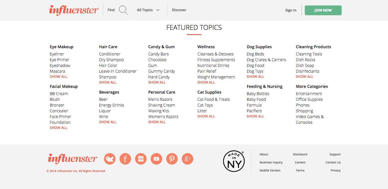 Screenshot of featured topics on Influenster.com