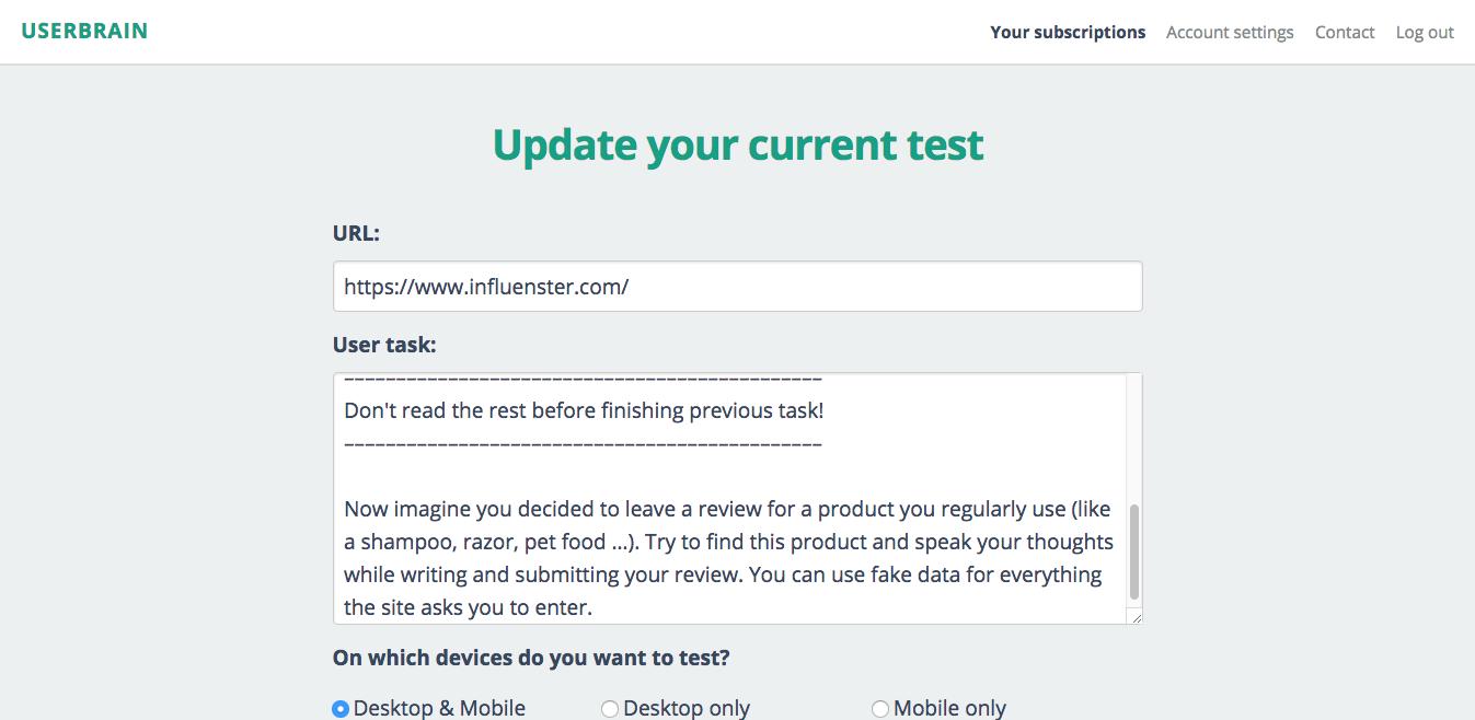 Screenshot of Userbrain dashboard with scenario for Influenster.com