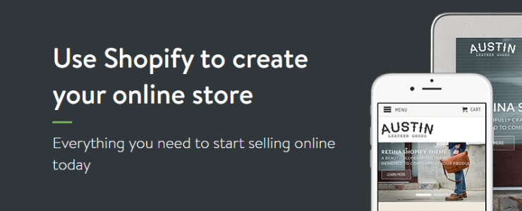 Shopify's online store builder page