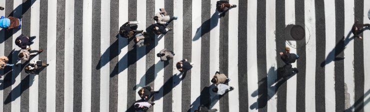Customers on a zebra crossing