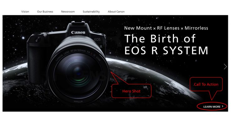 first impression on canon website