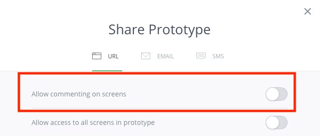 User Testing InVision Prototypes: Disable commenting on screens